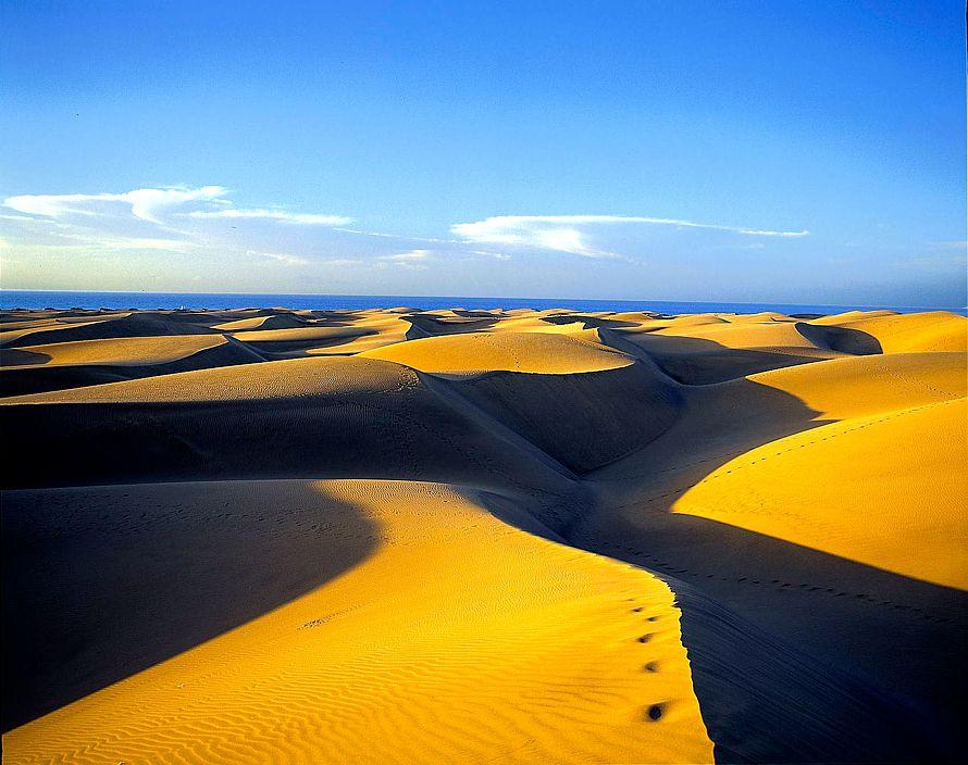 V Maspalomas, jednej z najobľúbenejších turistických oblastí Gran Canarie, návštevníkov prekvapia obrovské pieskové duny. (Foto: archív)