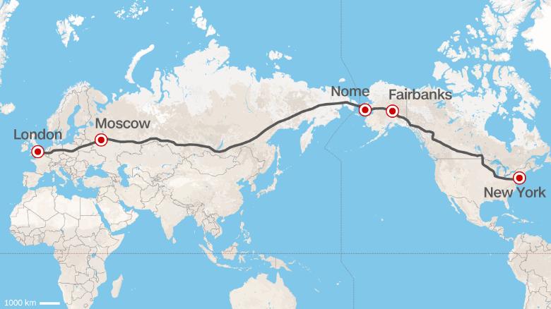 Takto by mala podľa šéfa Ruských železníc vyzerať trasa najdlhšej diaľnice na svete. (Mapka: CNN)