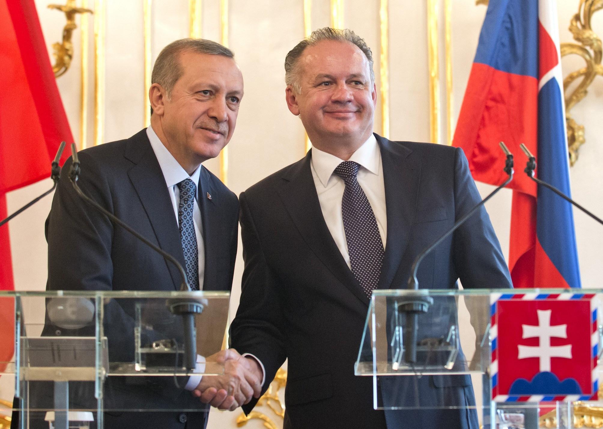 Recep Tayyip Erdogan a Andrej Kiska. (Foto: archív)