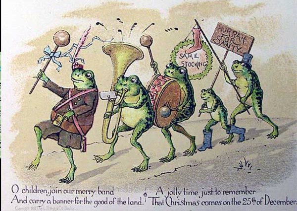 Pohľadnica Louisa Pranga, zobrazujúca skupinu žiab pochodujúcich s taranparentom. (Reprodukcia: archív)