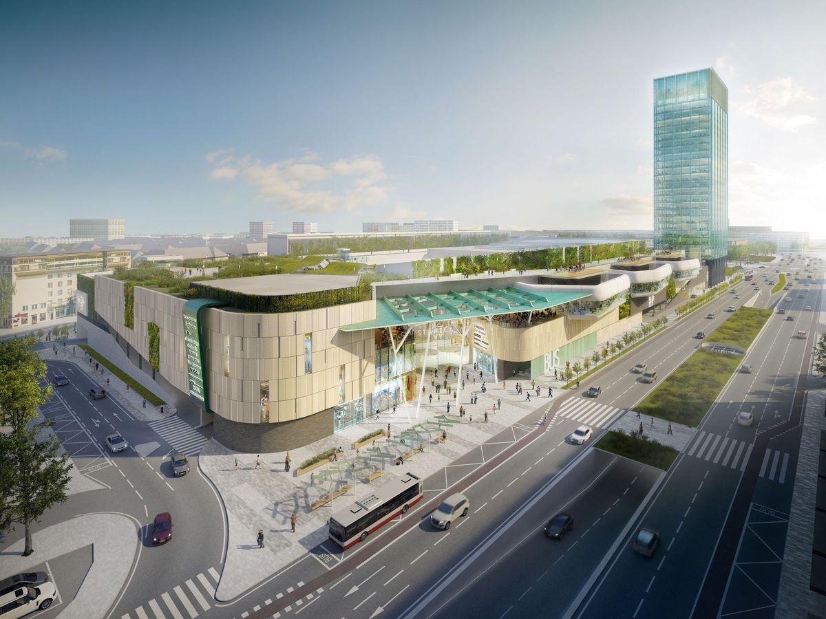 Takto bude vyzerať nová autobusová stanica na Mlynských nivách v Bratislave. Práve k nej má z Petržalky premávať veľkokapacitná kabínková lanovka. (Vizualizácia: archív)