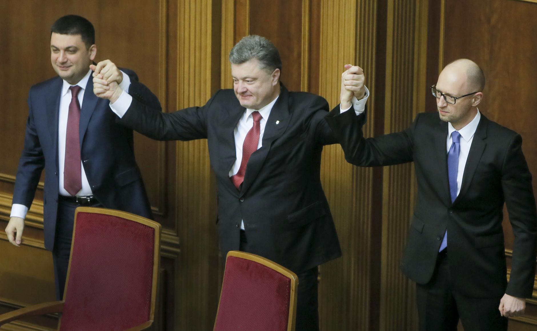 Hrojsman, Porošenko, Jaceňuk. (Foto: archív)